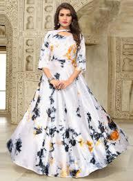 Satin Silk Dress Designs Off White Satin Silk Printed Readymade Gown 133241 Blouse