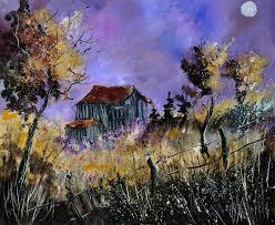 old barn paintings impressionism landscape canvas by pol henry ledent