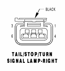 tail stop turn signal lamp right black 6 way