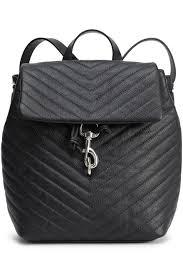 Black Designer Backpack Quilted Textured Leather Backpack