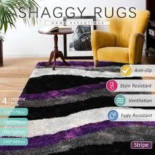 225 155 cm purple black white grey large gy floor rug carpet plush tuft trade me