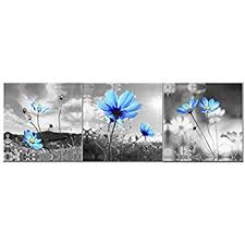 amoy art the blue dandelion flowers oil painting canvas wall art pictures canvas prints stretched on canvas wall art blue flowers with amazon amoy art the blue dandelion flowers oil painting canvas