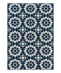 love this product navy white geometric flower indoor outdoor rug