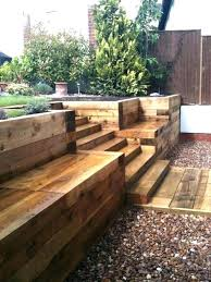 retaining wall wooden retaining wall seating steps walls patio with new railway sleepers pretty good idea
