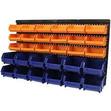 sentinel large 30pce storage bin tub kit wall mount garage warehouse tool bins
