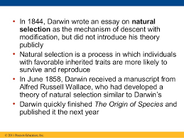 descent modification a darwinian view 21 bull in 1844 darwin wrote an essay on naturalselection