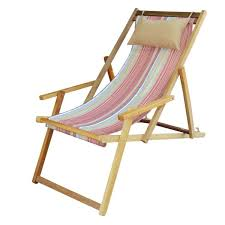 ... Buy Wooden Deck Easy Chair Online in Chennai with Arm Rest & Pillow -  Tango Stripe