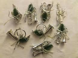 Christbaumschmuck 8 Musikinstrumente Instrumente Silber