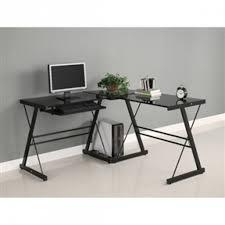 black metal l shaped corner computer desk with glass top