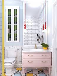 Pastel And Bright Coloured Bathroom Pastel Pink Chest White Porcelain  Fixtures Multi Pattern Tiling
