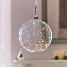plug in glass hanging ball with copper micro wire lights 20cm