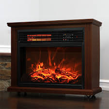 com xtremepowerus infrared quartz electric fireplace heater finish with remote controller walnut home kitchen