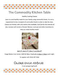 Commodity Kitchen Table Healthy Cooking Classes Osage Nation
