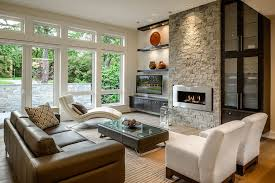 floating shelves next to fireplace living room contemporary with transom windows glass coffee table open shelving
