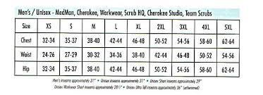 Cherokee Scrubs Size Chart Scrub Top Size Chart Bedowntowndaytona Com