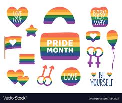 Pride month hand drawn stickers lgbtq icon set Vector Image