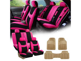 pink black car seat covers full set for auto w 4 headrests rubber floor mats