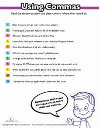 Using Commas Worksheet Education Com