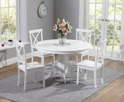 elstree 120cm painted white round dining table 4 chairs