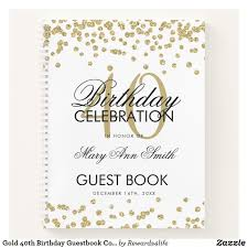 Birthday Guest Book Template Gold 40th Birthday Guestbook Confetti White Notebook