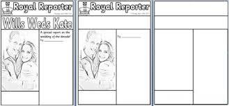 Newspaper Article Template Worksheets Free Royal Wedding Resources Posters Printables Worksheets