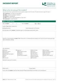 Incident Report Form Pdf 310kb University Of The