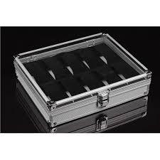 aluminium pu leather watch case box 6 10 12 20 24 slot