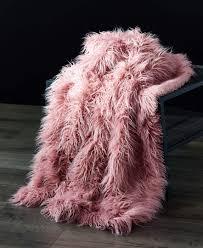 Light Pink Fur Throw Blanket