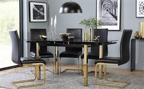 black dining room furniture sets. Space Gold And Black Glass Extending Dining Table - With 4 Perth Chairs (Gold Room Furniture Sets F