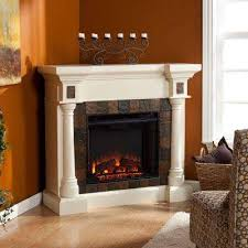 convertible electric fireplace in ivory with faux slate