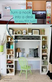 use ikea bookshelves to turn a nook or closet into a built in desk domestically