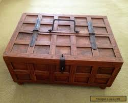 small solid wooden box with hinged half lid and handle immaculate for