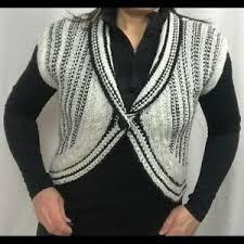 Details About Cabi Style 608 Black White Cardigan Shrug Cropped Sweater Top Size Medium