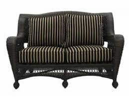 kate s collection all weather wicker stackable loveseat w 4pc harwood onyx cushions outdoor greatroom company