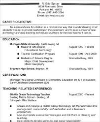 Objective For Resumes Simple Resume Objective Sample For Teachers Earpodco
