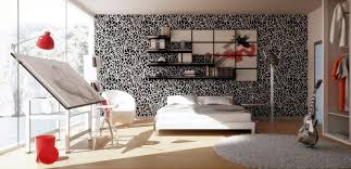 ... cool bedroom art studio with black wallpaper and drafting table by the  window ...