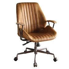 acme hamilton leather swivel office chair in coffee