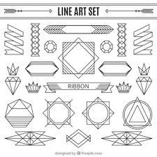 line ornaments set art deco furniture lines