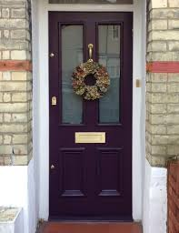 London Front Door Farrow  Ball Pelt With Brushed Brass Hardware - Farrow and ball exterior colours