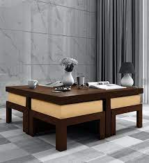 trendy coffee table set with 4 stools