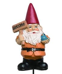 orange welcome gnome garden stake