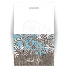 snowflake thank you cards you cards rustic winter wood blue snowflake