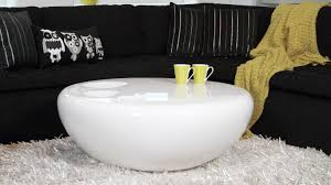comfy round white coffee table modern with shelves and storage