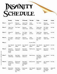 printable exercise calendar insanity workout schedule