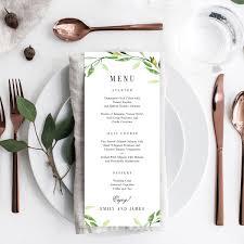 Menu Card Template Green Foliage Wedding Menu Card Gfc