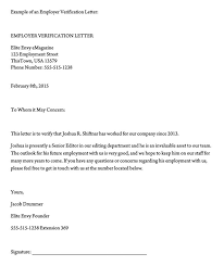 Letter Employment Verification Employment Verification Letter 40 Sample Letters And