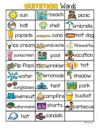 Summer Word List Summer Vocabulary List 32 Words And Pictures Free Summer