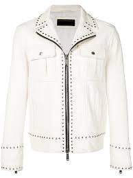 versace silver studded biker white leather jacket