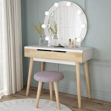 White Vanity Table With Lighted Mirror Vanity Set With Round Lighted Mirror Wood Makeup Table