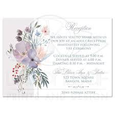 wedding reception card bohemian wildflowers wedding reception card smoky blue plum